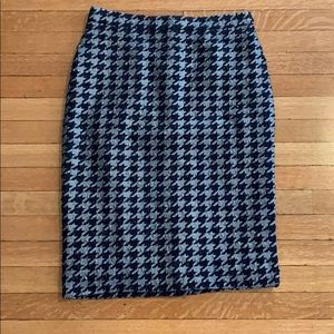 Ann Taylor navy and silver pencil skirt.